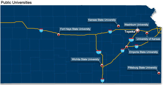 Kansas Universities Map