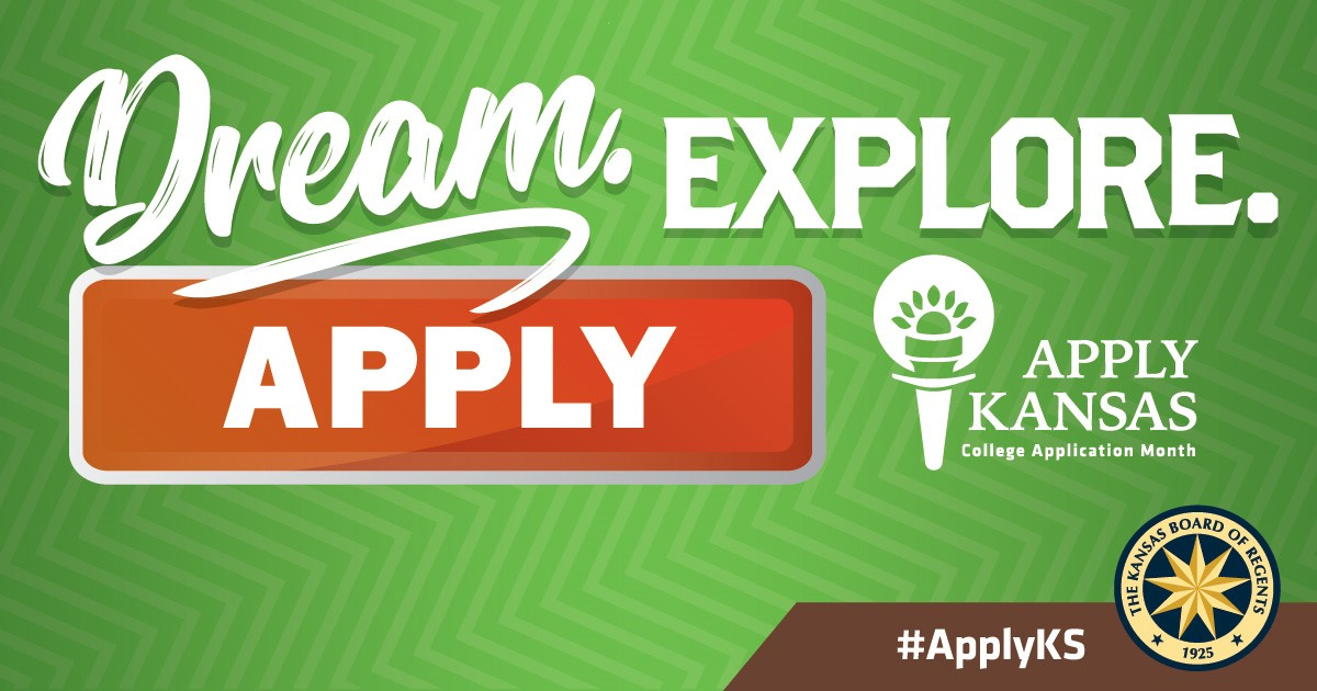 "A green rectangle banner with the words ""Dream. Explore.Apply. Apply Kansas"""