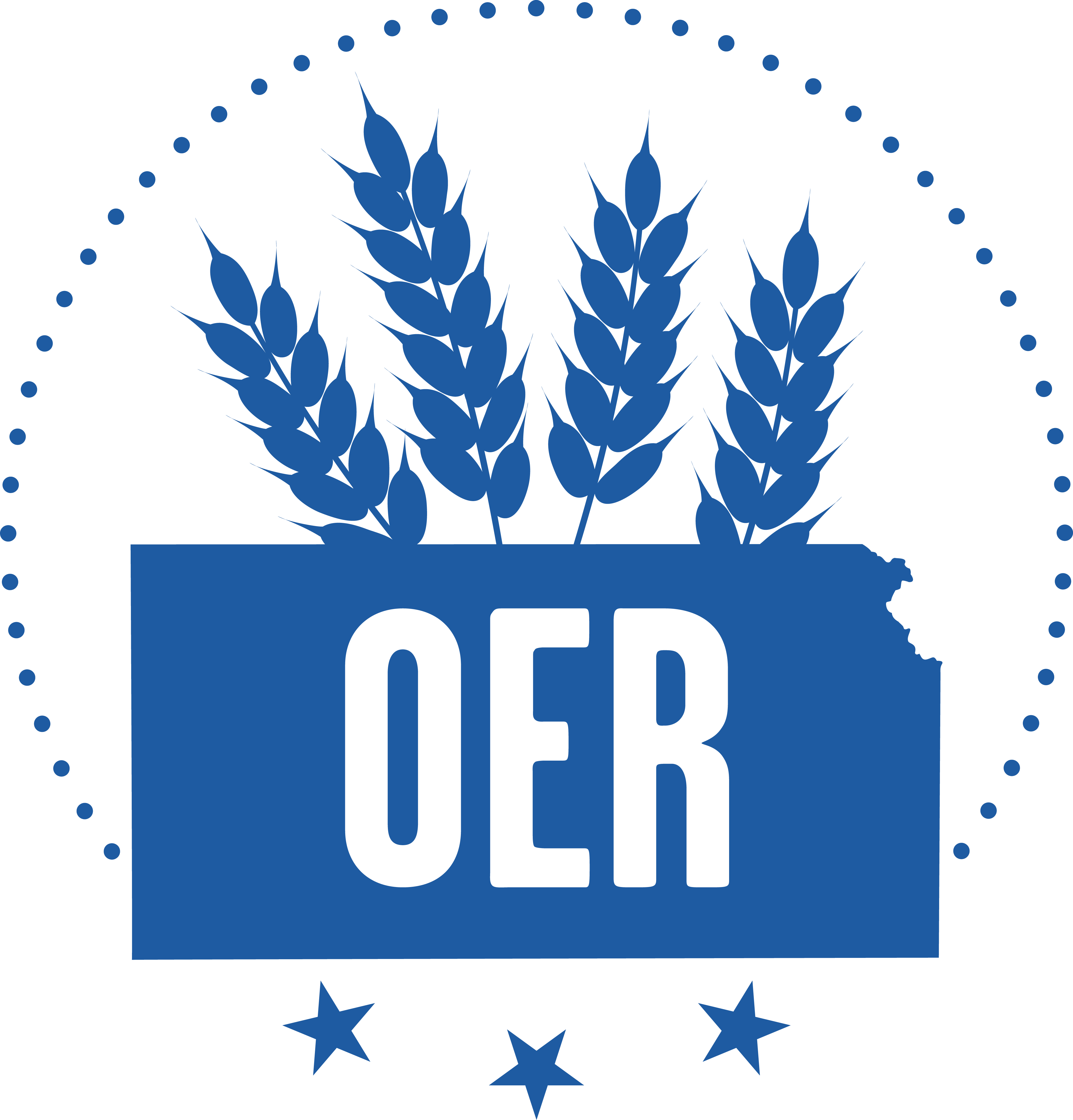 "image of the state of Kansas with ""OER"" in the middle."