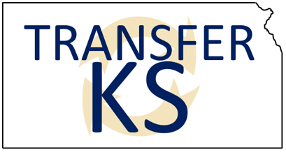 Image of the state of kansas that says Transfer KS